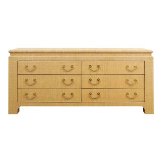 Pristine Vintage Natural Raffia Six-Drawer Chest by Harrison-Van Horn For Sale