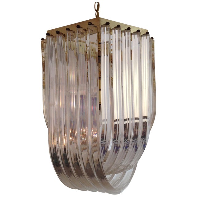 1970s Italian Lucite & Brass Ribbon Chandelier - Image 1 of 6