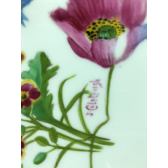 Traditional Signed J. Colclough Minton H4780 Hand Painted Floral Aqua Rim Plates - Set of 12 For Sale - Image 3 of 13