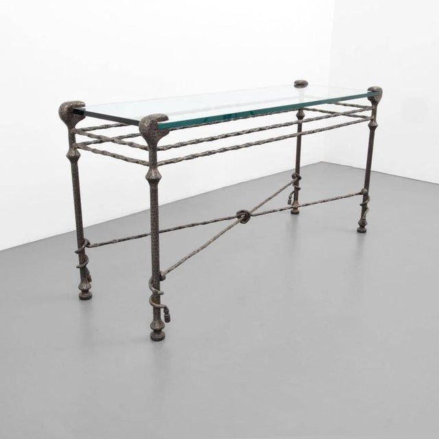 Alberto Giacometti Diego Giacometti style Mid-Century Hammered Iron Console Table For Sale - Image 4 of 8