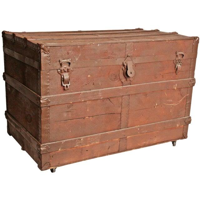 Vintage Brown Wood Steamer Trunk - Image 1 of 11