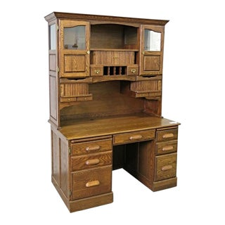Oak American Curio Writing Table For Sale