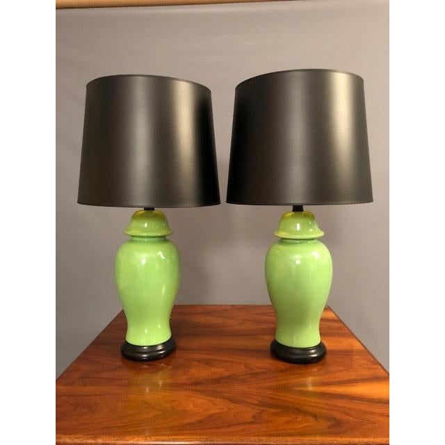 Mid-Century Green Porcelain Table Lamps - a Pair For Sale - Image 9 of 9