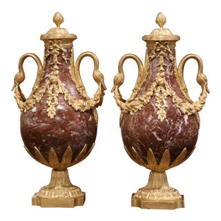 Pair of 19th Century French Carved Variegated Marble and Gilt Bronze Cassolettes For Sale