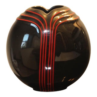 Black and Red Art Deco Revival Porcelain Vase by Toyo Japan For Sale