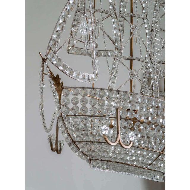 Hollywood Regency Antique 1920s Italian Venetian Crystal Sailboat Boat Ship Chandelier For Sale - Image 3 of 6