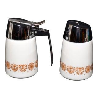 Pyrex Butterfly Motif Sugar & Creamer Set - A Pair