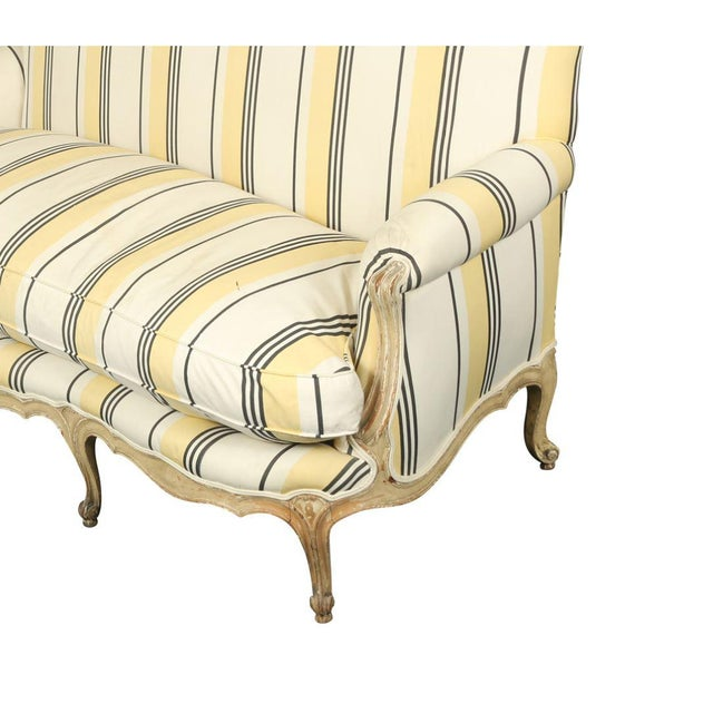 French French Louis XVI Jansen Style Striped Sofa For Sale - Image 3 of 4