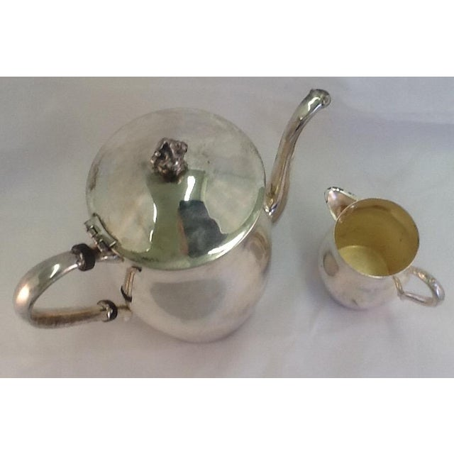 Vintage Coffee Pitcher. Vintage Creamer. Silverplate Oneida Coffee Pitcher & Creamer - Image 3 of 7