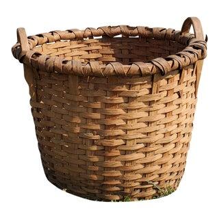 Primitive Hand Woven Harvest Splint Basket For Sale