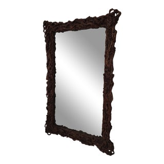 Root Wood Mercury Glass Mirror For Sale