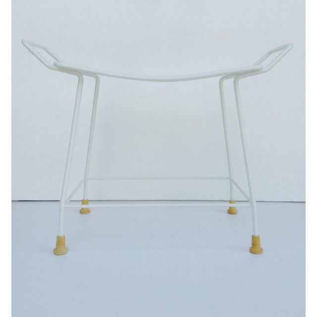 Mid-Century White Enameled Metal Stool For Sale In West Palm - Image 6 of 11
