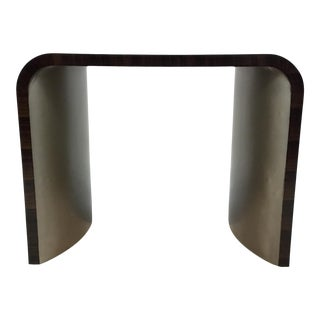 Modern Caracole Dark Wood and Silver Finish Streamline End Table For Sale