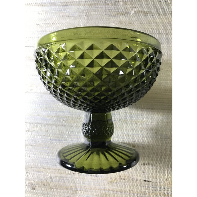 Mid-Century Textured Green Glass Goblets- A Pair For Sale - Image 4 of 5