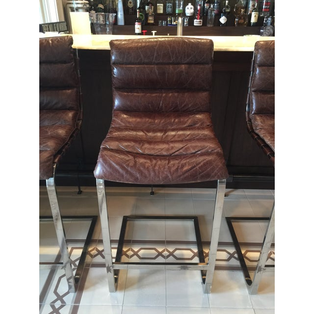 Restoration Hardware Restoration Hardware Oviedo Leather Bar Stool - Set of 3 For Sale - Image 4 of 6