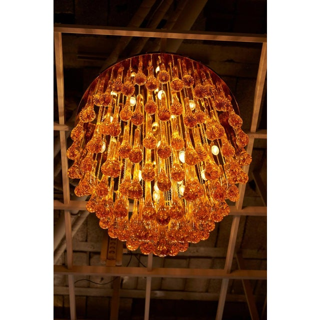 Monumental Brass and Murano Glass Tear Drop Flush Mount Attr. To Barovier & Toso For Sale - Image 6 of 13