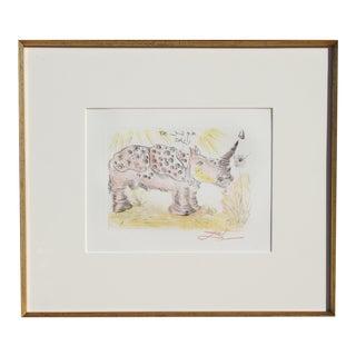 Rhinoceros, Etching by Dali For Sale