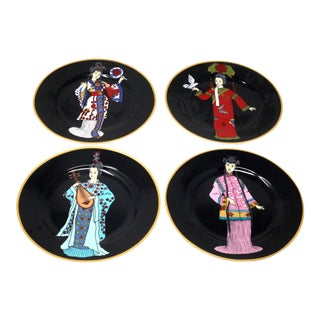 Illustrated Geishas Decorative Plates - Set of 4 For Sale
