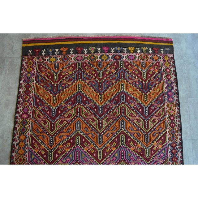 "1960s Antique Turkish Kilim Rug Hand Woven Wool Jajim Braided Area Rug - 6'5"" X 9'10"" For Sale - Image 5 of 9"