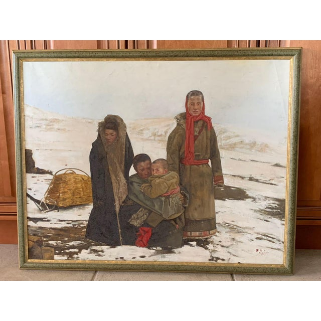 1990s Maquan Mongol Family Original Oil Painting For Sale - Image 9 of 9
