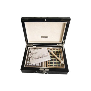 Ercolano Black Lacquered Wood Playing Cards Box