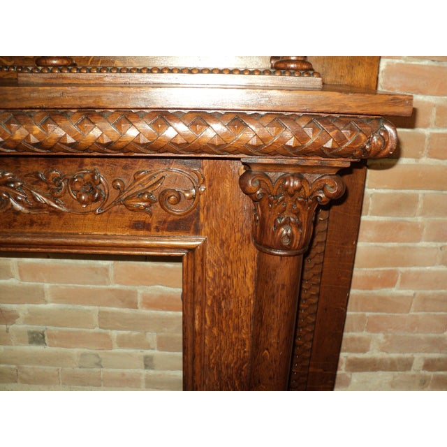 Late 19th Century Highly Carved Oak Fireplace Mantel For Sale - Image 9 of 12
