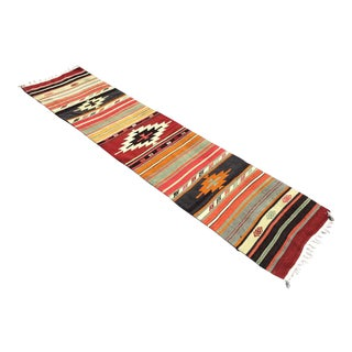 Vintage Hand Woven Aztec Runner Rug For Sale