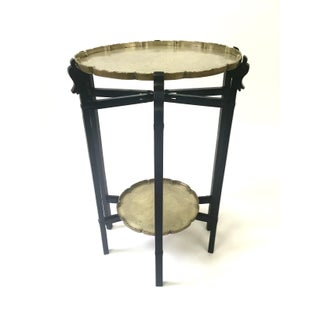 Carved Ebony Folding Table With Etched Brass Trays Preview