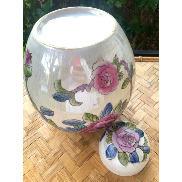 Late 20th Century Hand Painted Rose Floral Porcelain Ginger Jar For Sale - Image 5 of 7