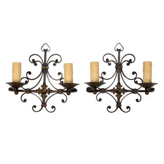 French Wrought Iron Scrolled 2-Light Wall Sconces - A Pair For Sale