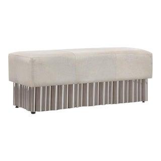 Large Cream Hair on Hide Bench, Living Room, Bedroom, Comfortable Footrest, Modern Design- Stainless Steel For Sale
