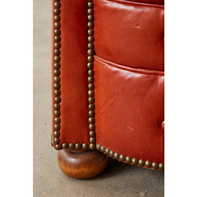 Midcentury English Chesterfield Style Kidney Bean Leather Settee For Sale - Image 10 of 13