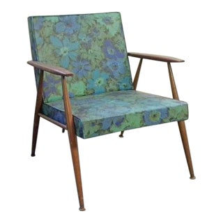 Vintage Mid-Century Danish Style Lounge Chair with Original Upholstery For Sale