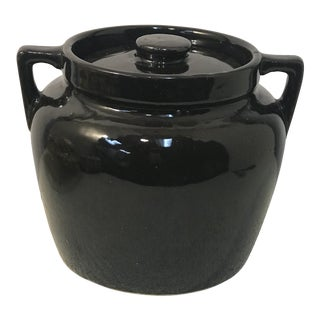 1970s Vintage Black Potters Bean Pot For Sale