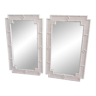 Palm Beach White Faux Bamboo Mirrors - a Pair For Sale