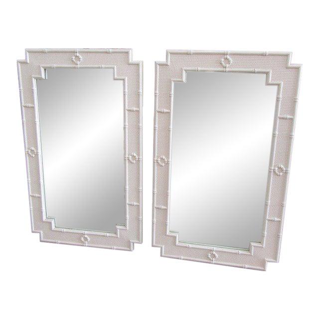 Palm Beach White Faux Bamboo Mirrors - a Pair For Sale