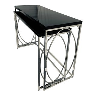 Mid-Mod Chrome Black Nesting Console Tables - a Pair For Sale