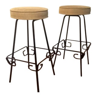 Mid Century Modern Iron Bar Stools by Herb Ritts - a Pair For Sale