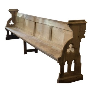 Antique French Wooden Church Pew For Sale