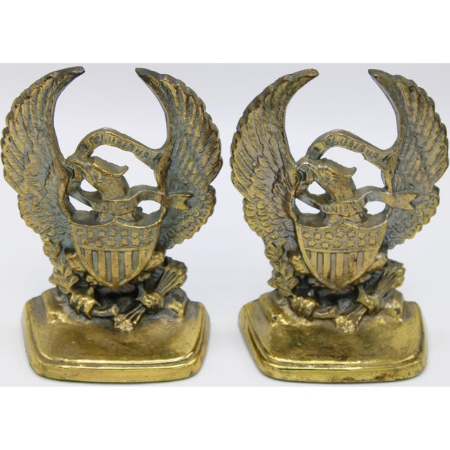 Metal Vintage Golden Federal Eagle Cast Iron Bookends - a Pair For Sale - Image 7 of 7