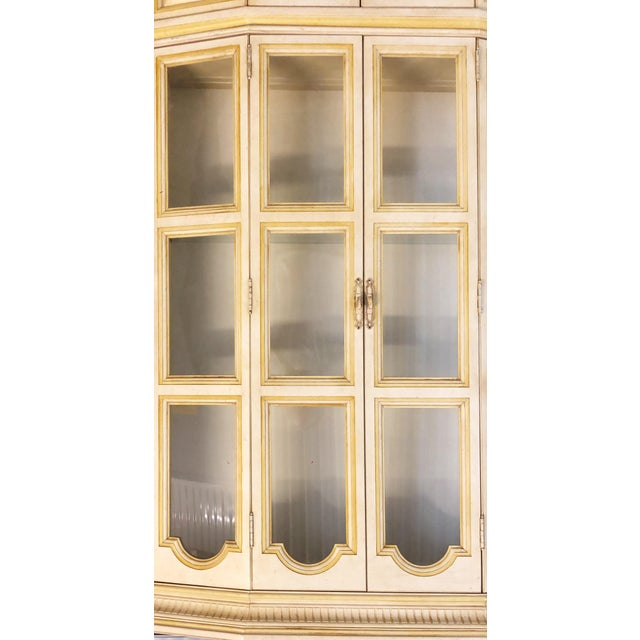Baker Breakfront French Country Glass Shelves, Lighting and Two Storage Cabinet - 2 Pc. For Sale - Image 9 of 12