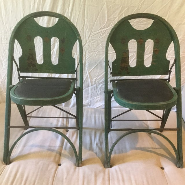 1920s Vintage Louis Rastetter & Sons Green Wood Folding Chairs - a Pair For Sale - Image 13 of 13