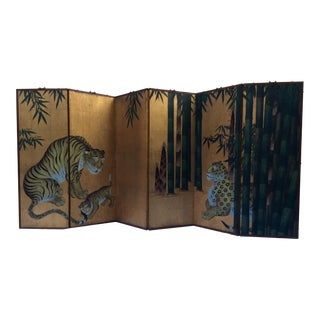 Vintage Asian Painted Hanging Wall Screen For Sale