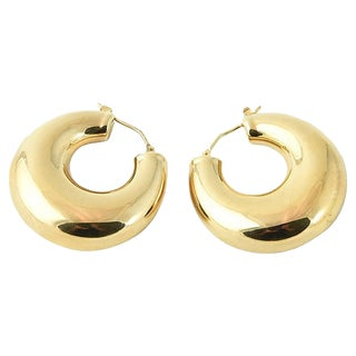 Large Shiny Chubby Gold Hoop Earrings For Sale