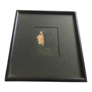 Antique Monk Priest Profile Portrait Print Lithograph For Sale