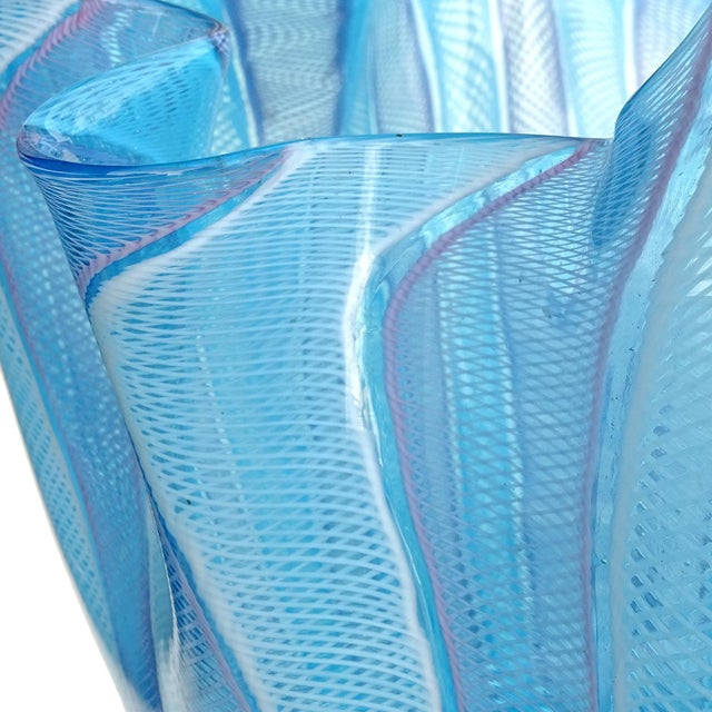 Abstract Fratelli Toso Murano Blue Pink White Ribbons Italian Art Glass Fazzoletto Sculptural Vase For Sale - Image 3 of 5