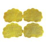 Image of Vintage Yellow Scallop Shell-Shaped Woven Placemats- Set of 4 For Sale