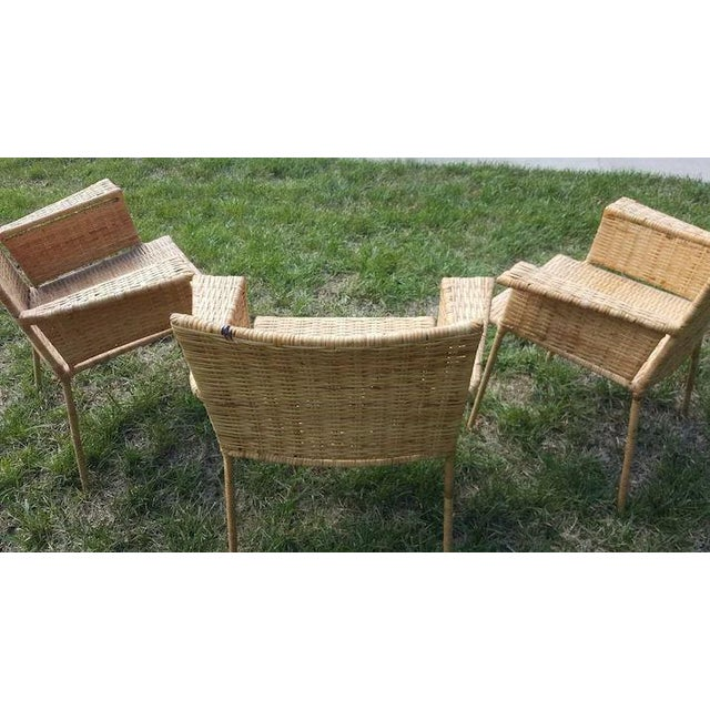 Van Keppel and Green Wicker and Wrought Iron Chairs - Set of 3 For Sale - Image 9 of 11
