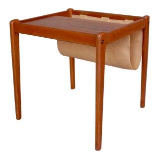 Danish Modern Teak & Leather End Table Magazine Rack For Sale