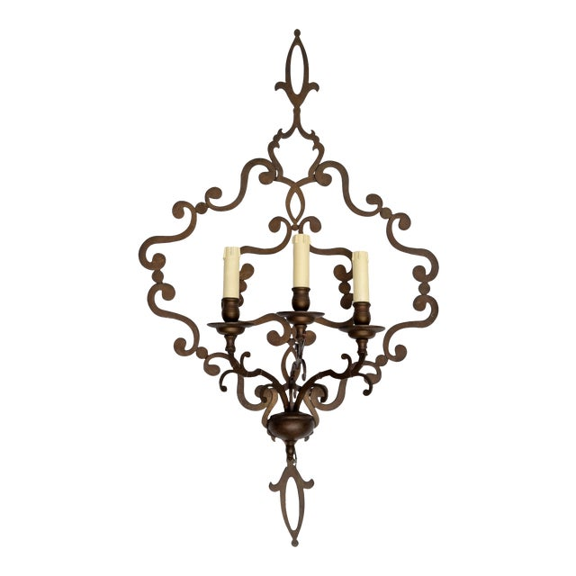 Italian Wrought Iron Applique, Wall Sconce - Image 1 of 5